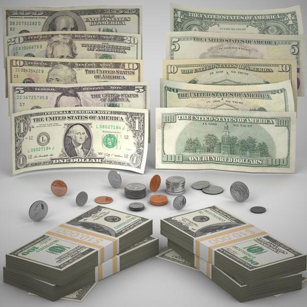photo realistic money coins c4d