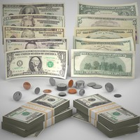 photo realistic money coins c4d