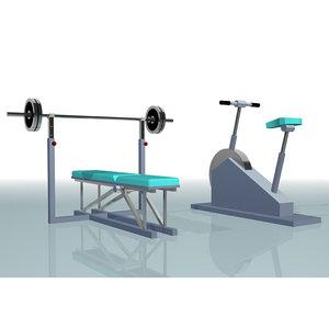 3d bench cardio trainer model