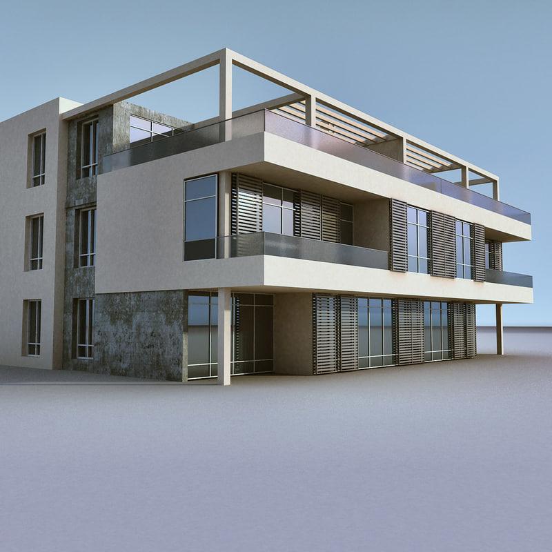 3d Model House Building Residential: 3d Model Modern Building