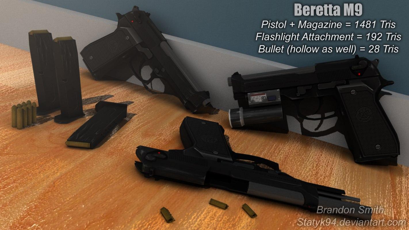 black beretta m9 pistol obj