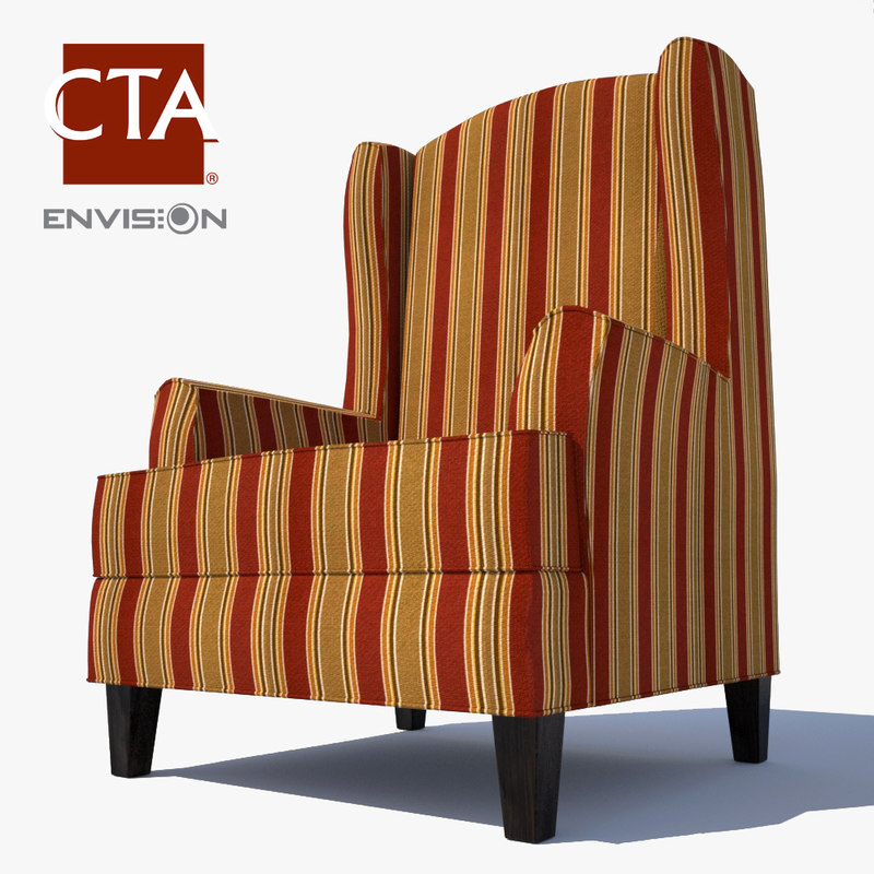 wingback lounge chair 3d model