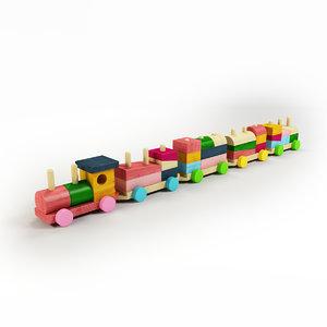 toy train wood 3d model