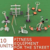 fitness street 3d model