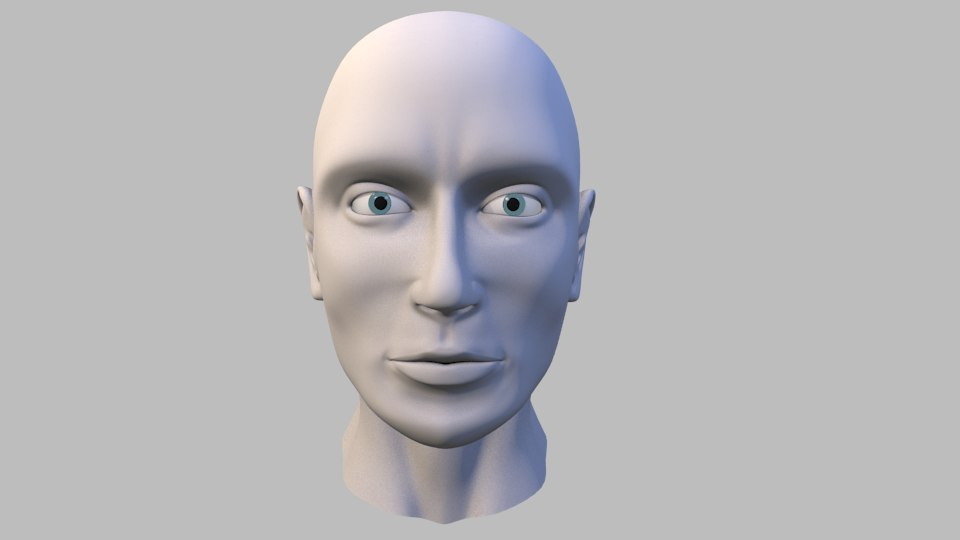 realistic male head topology 3d obj