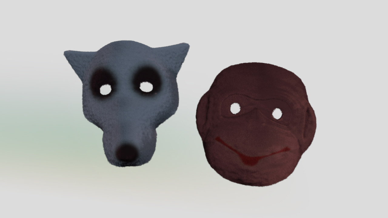 3d masks wolf monkey