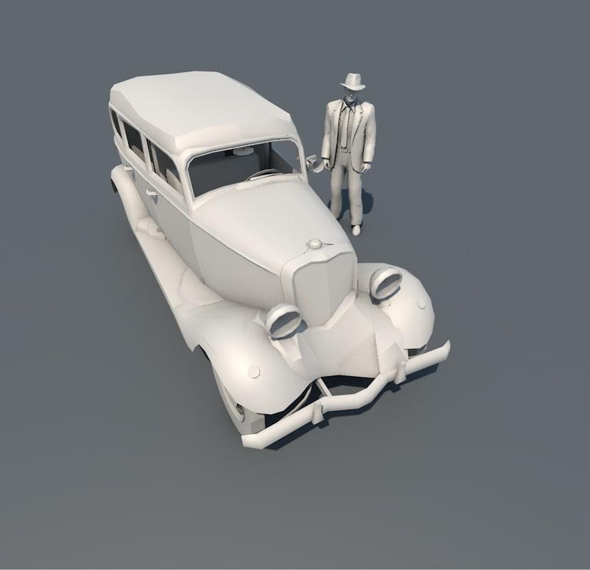 old historic car 3d model