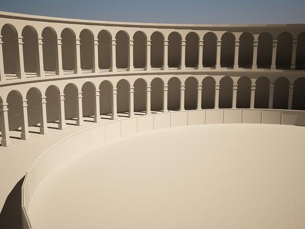 3d model simple amphitheater gladiator