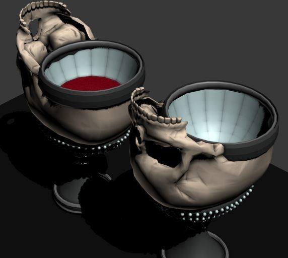 3d model skull drinking glass