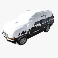 3d snow covered car