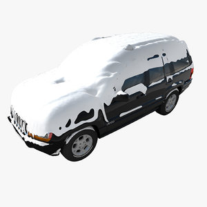 3d snow covered car