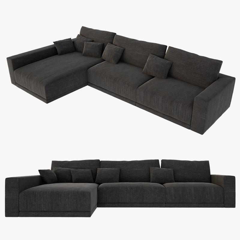 3d realistic l sofa model