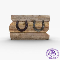 horseshoes wooden 3d model