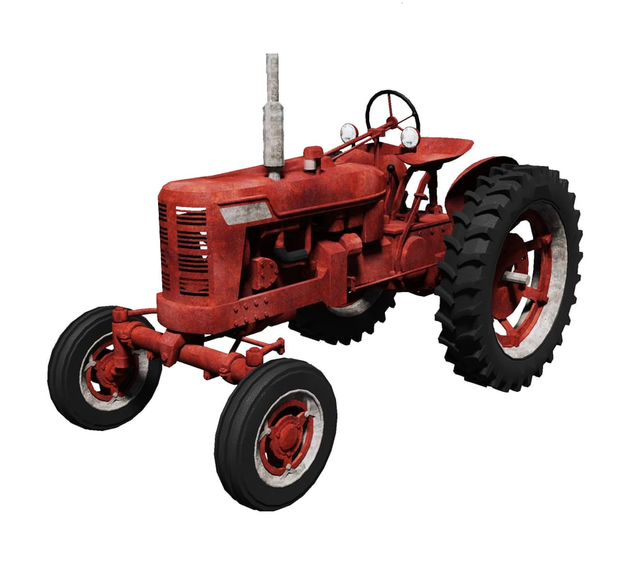 rusty old tractor 3d model