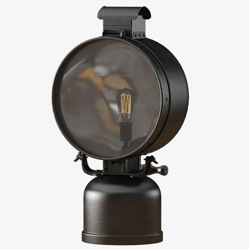 3d model british railway flood lamp