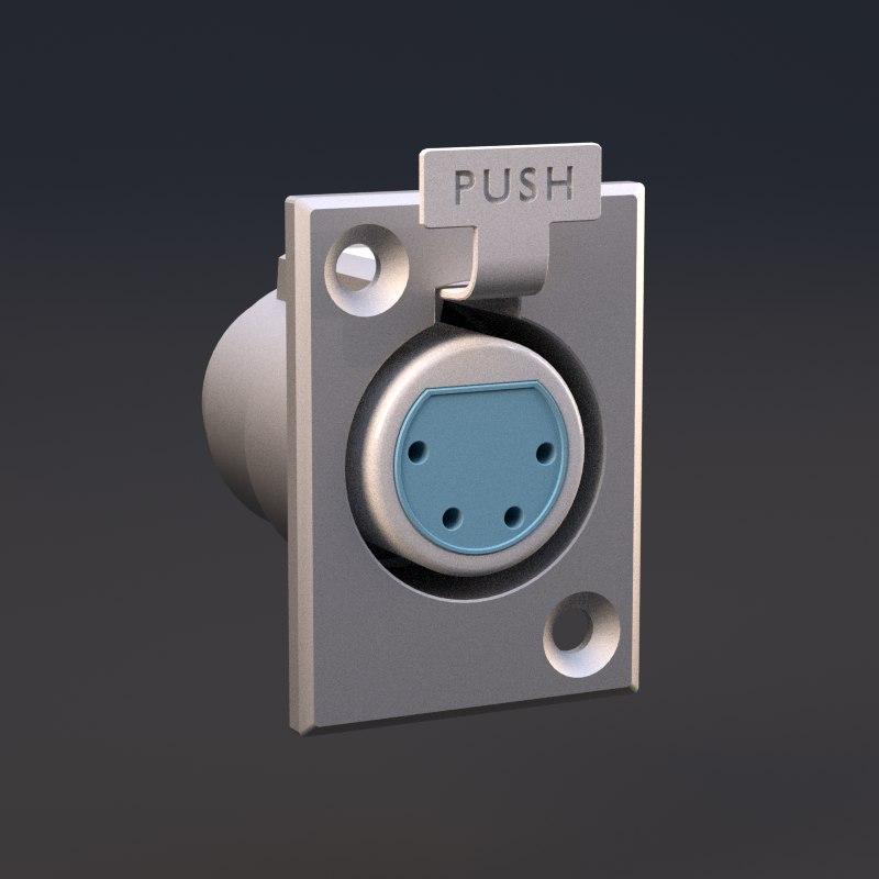 4-pin xlr socket 3d 3ds