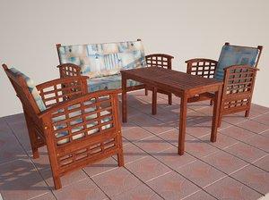 3d wooden garden chairs model
