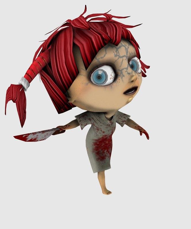 character baby zomb girl 3d max