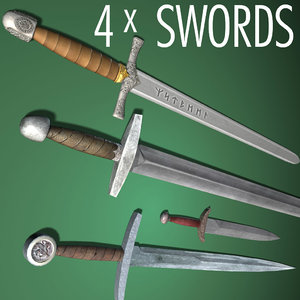 3d swords dagger weapons