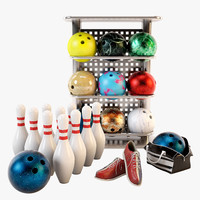 bowling set ball 3d max