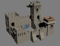 small stone castle fort 3d model
