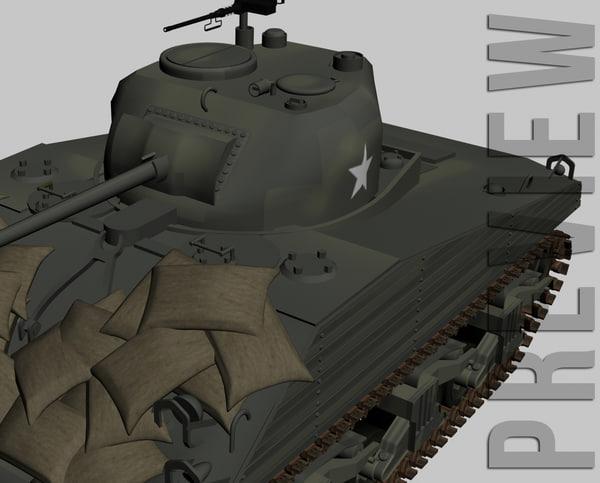 3d sherman m4a3 tank model