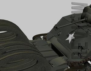 3d sherman m4a3 tank minerollers model