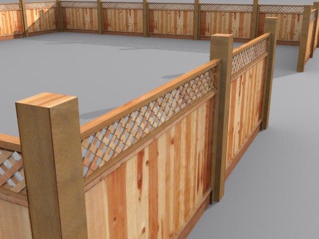 3d model wooden fence