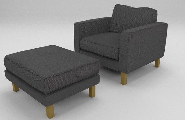 3d armchair chair ottoman model