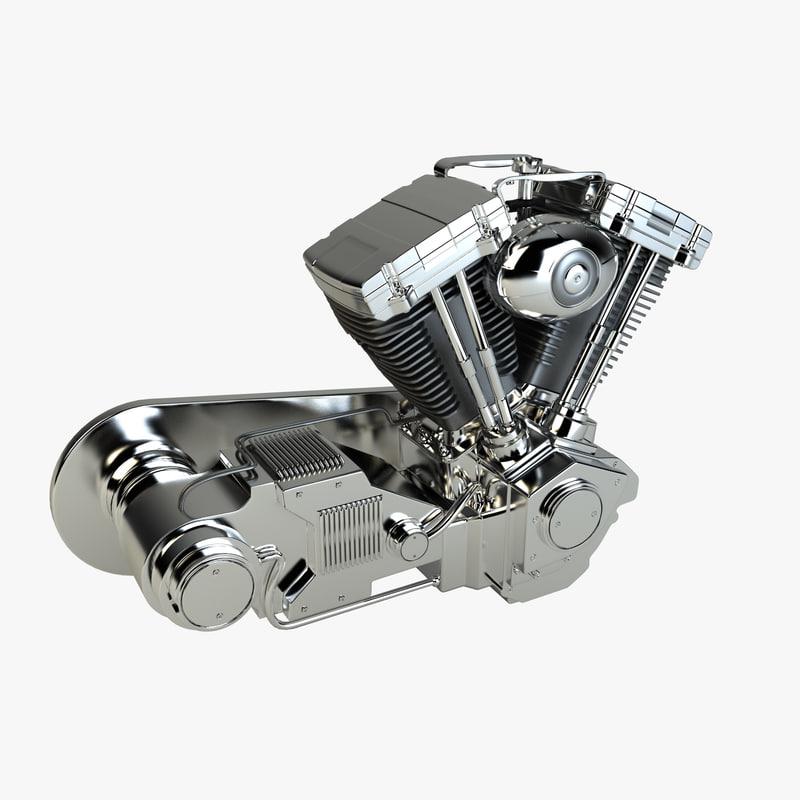 3d v-twin chopper engine model