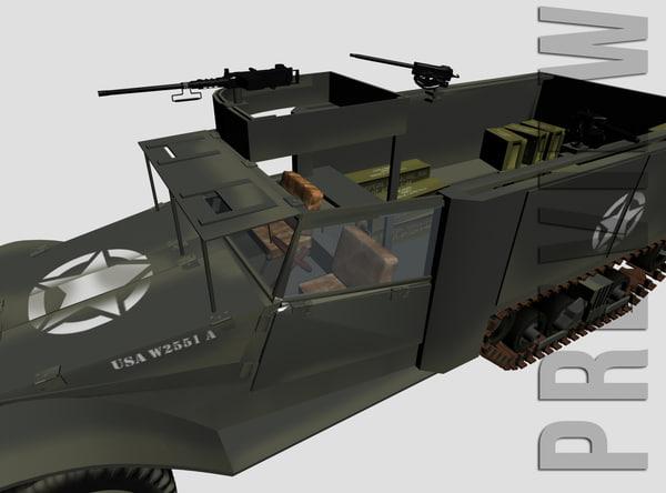 3d m2a1 halftrack model
