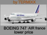 3d model airplane boeing 747 air france