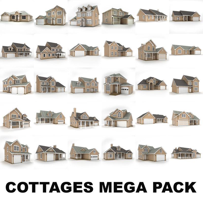 hi-poly cottages mega pack max