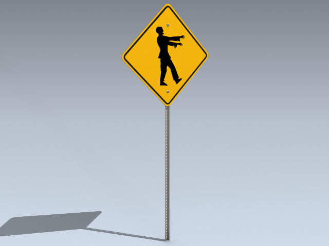 3ds road sign zombie
