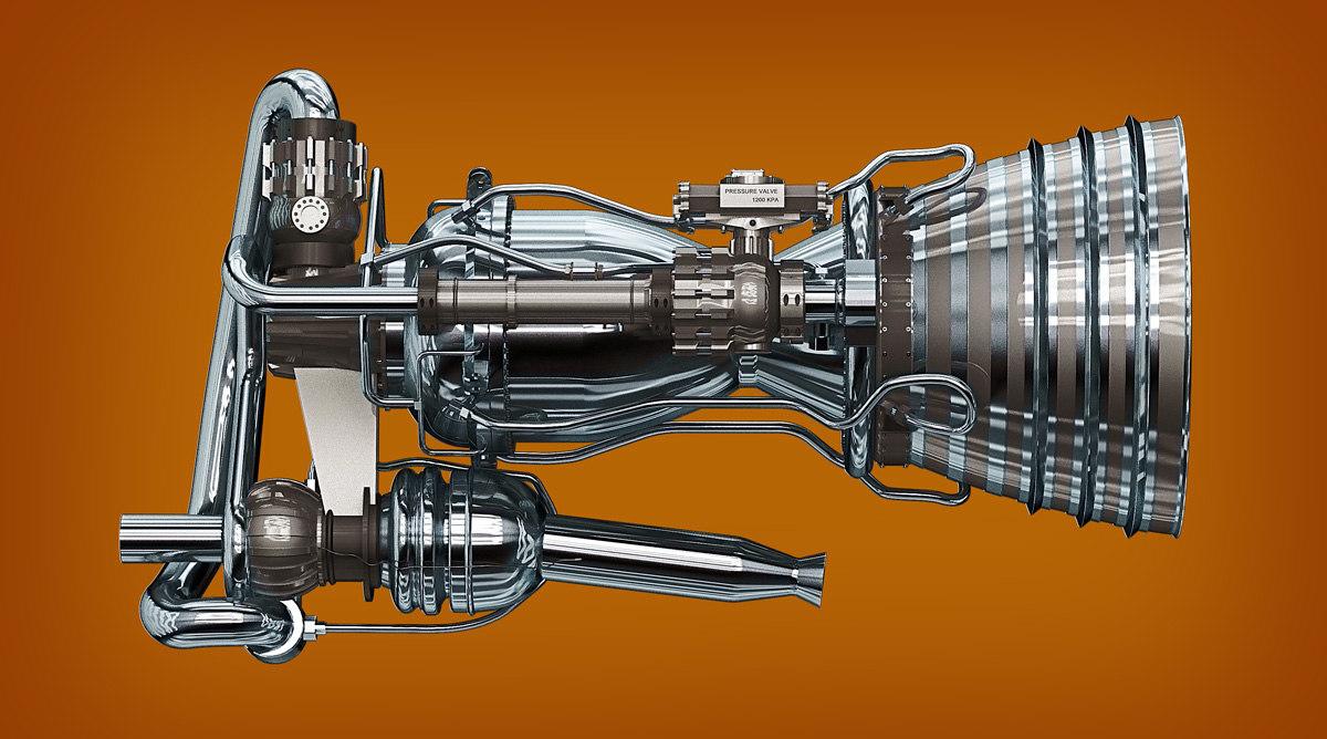 3ds max merlin engine spacex rocket