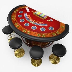 casino blackjack table - 3d model