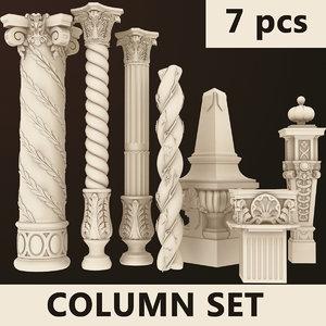 columns 7 set 3d dxf