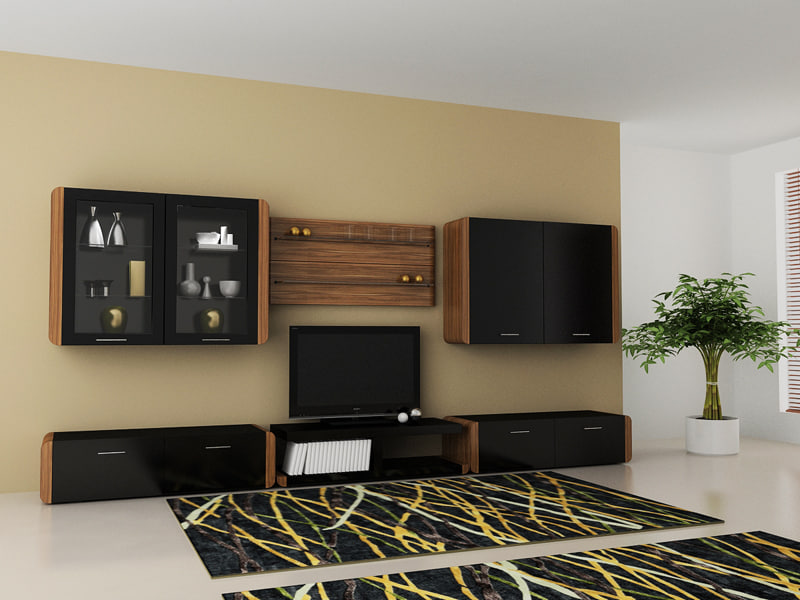 3d living room set table model