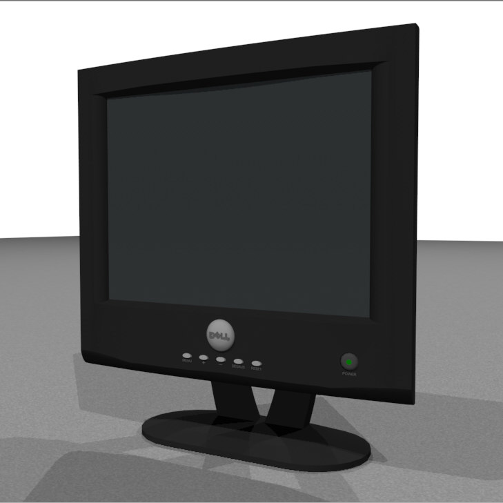 3d computer monitor flat model