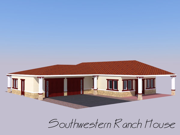 ranch home house 3d model