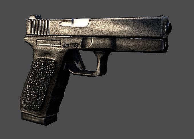 hand handgun gun 3d obj