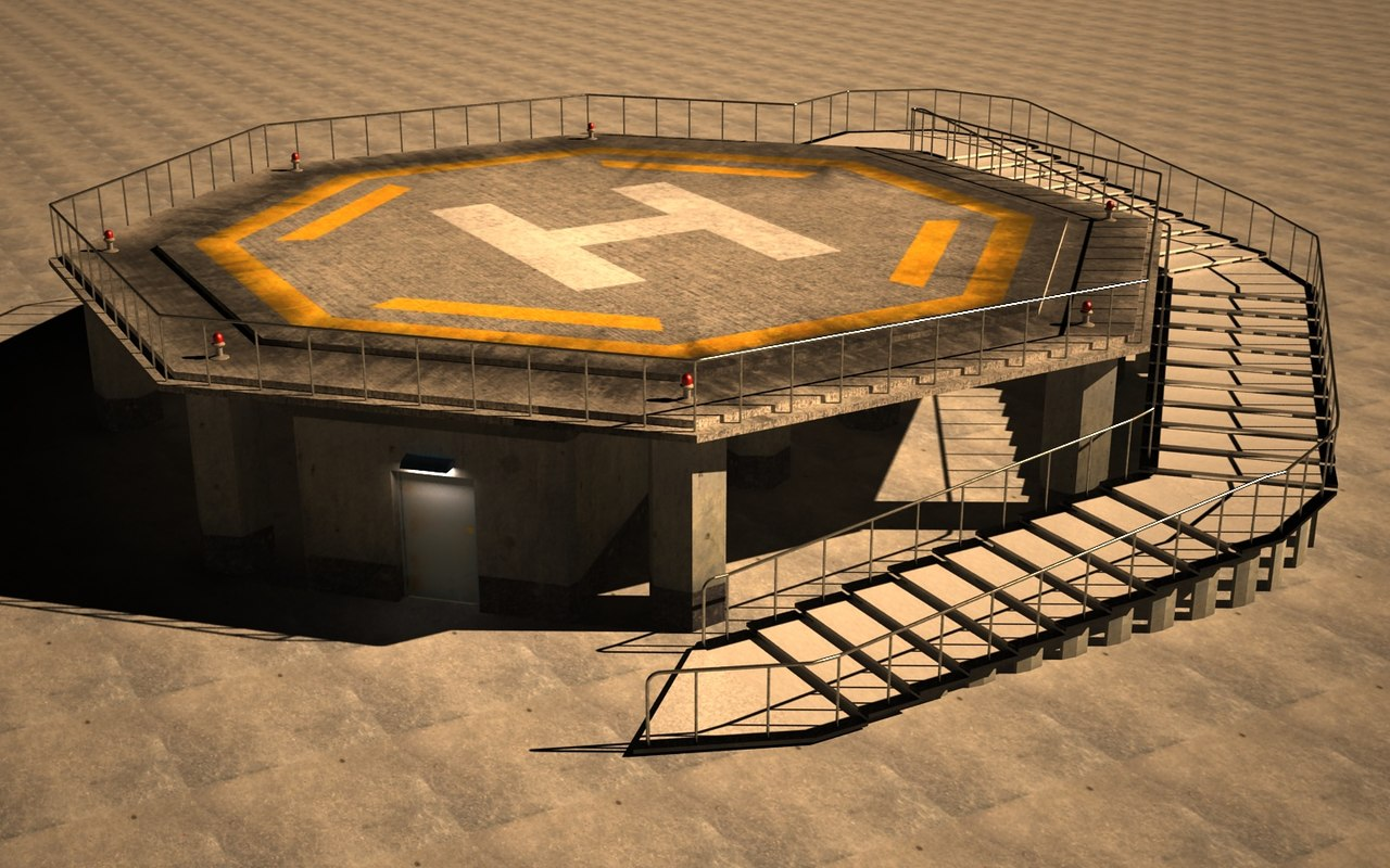 3d model of helipad roof