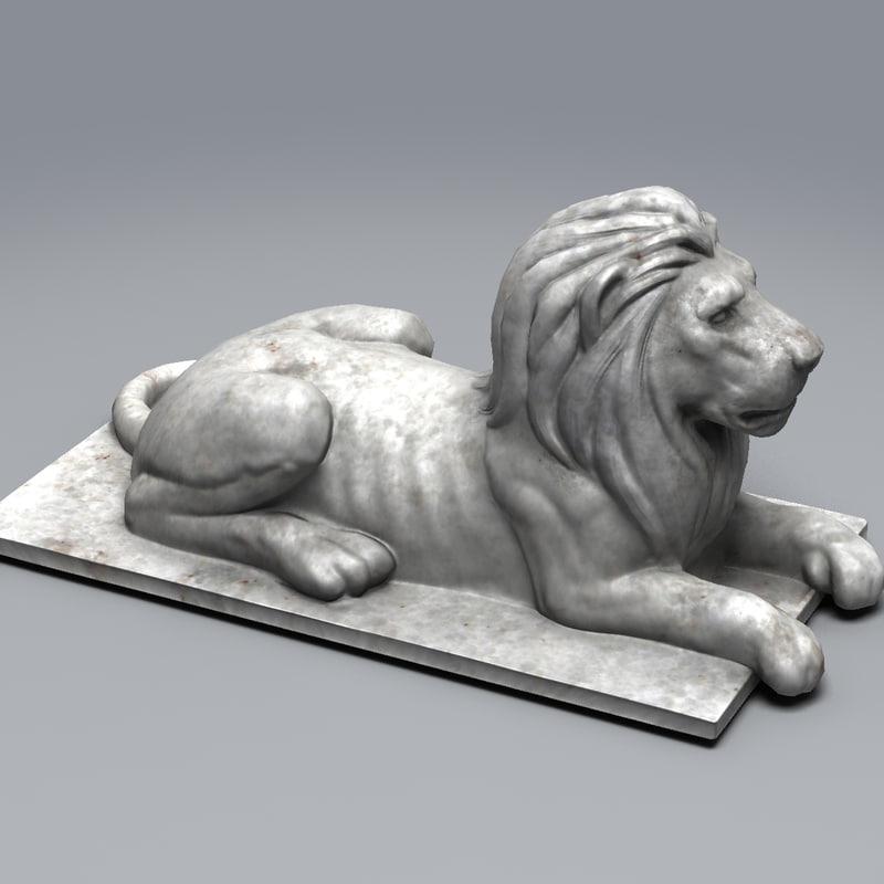 lion statue statue007 3d model