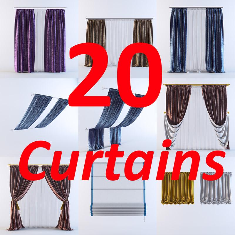 3d model curtains vol 01