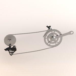 3d bicycle transmission model