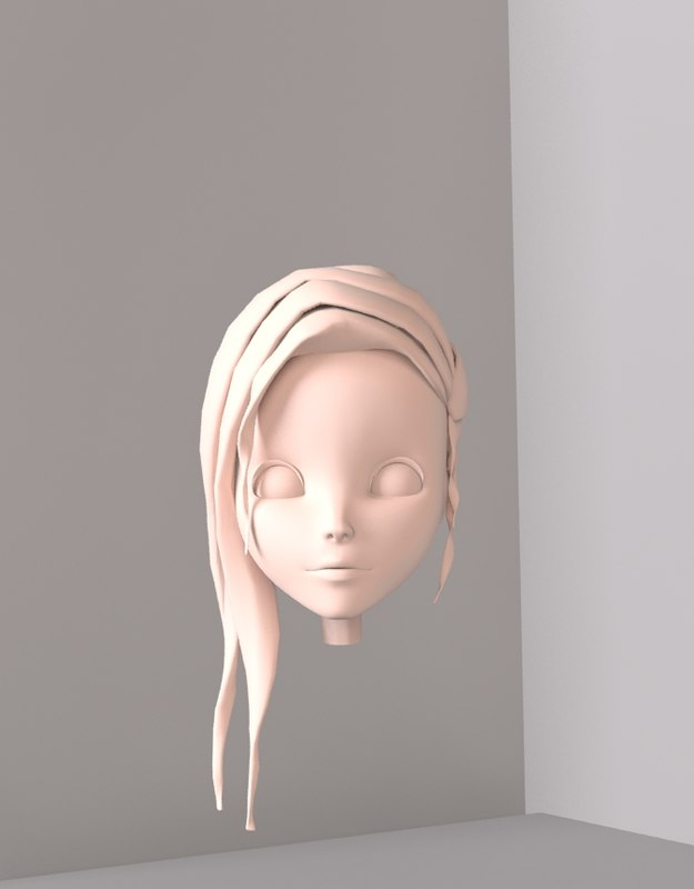 3d girl woman head animation model