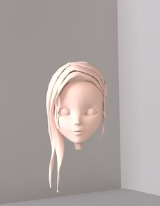 3d girl woman head animation model