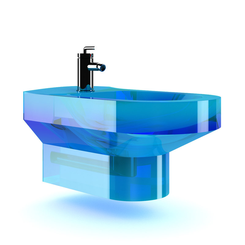 3dsmax blue glass bidet