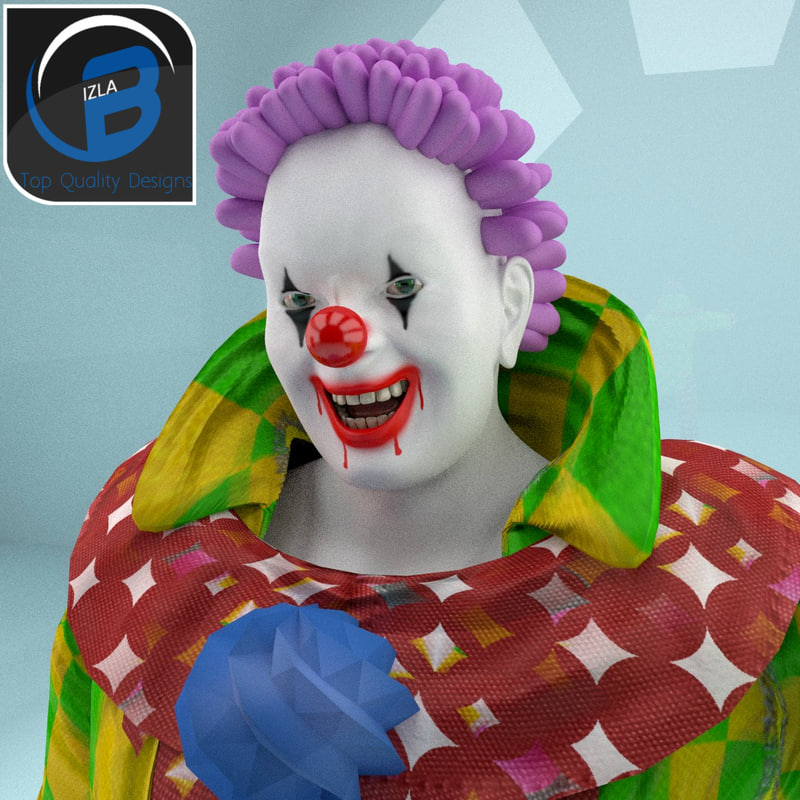 fun scary clown rigged cartoon 3d model