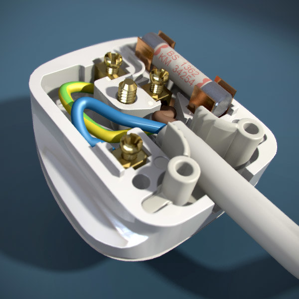 british electrical plug 3d model